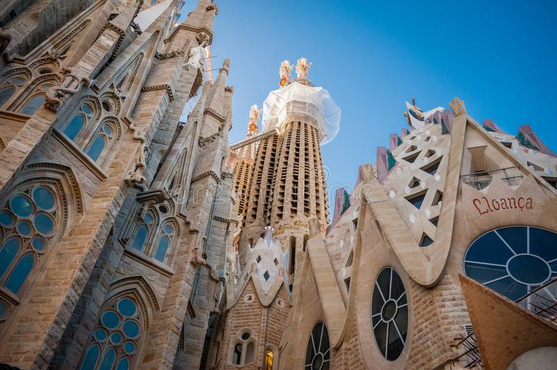 Sagrada Familia, Spanje, Barcelona, September 2017, Kathedraal des royalty-vrije stock foto's