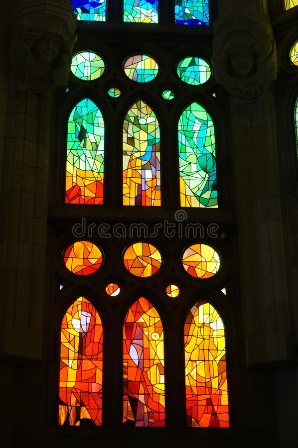 Sagrada Familia Stained Glass Window stock photo