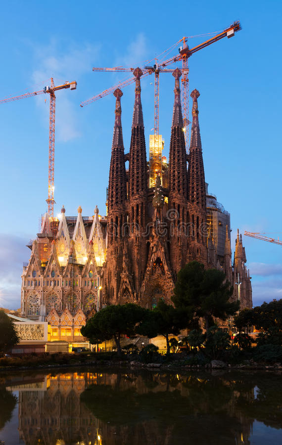 Sagrada Familia in twilight. Barcelona stock photo