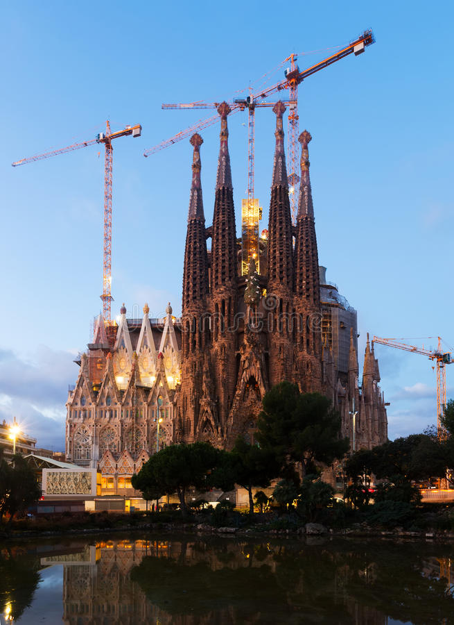 Sagrada Familia in twilight stock photography