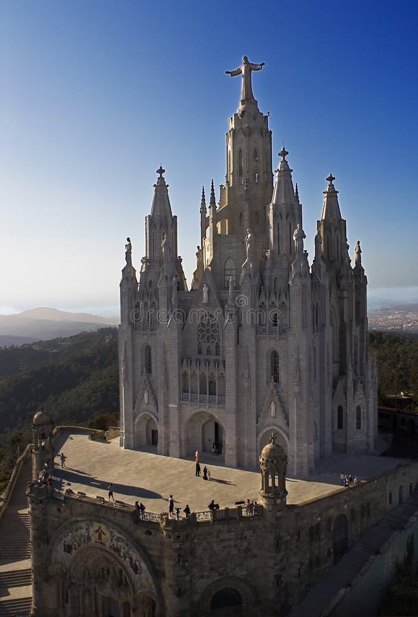 Sagrat cor of barcelona. Church on a summit in barcelona city stock photography