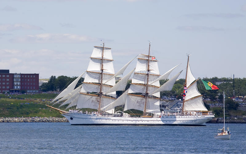 The Sagres - Nova Scotia Tall Ship Festival 2009. The Sagres sails along the Dartmouth side of Halifax Harbour on July 20th, 2009, during the sail past in the stock photography