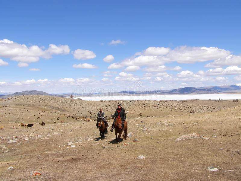 SAGSAY, MONGOLIA - MAY 22, 2012: Mongolian teenagers horsemen shepherd their sheep in the beautiful spring desert stock photos