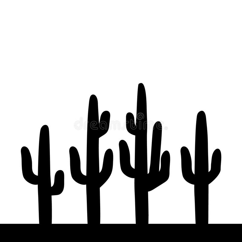 Saguaro Cactus Black And White Simple Illustration, Vector ...