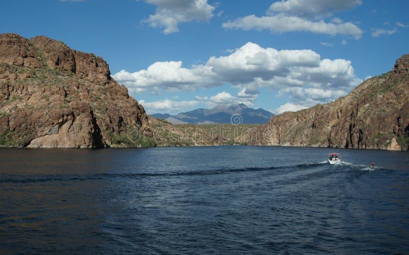 Saguaro Lake 7. Water skiing on Saguaro Lake Arizona stock photography