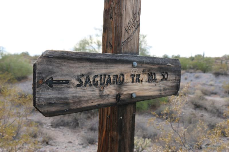 Saguaro trail hike sign wooden royalty free stock image