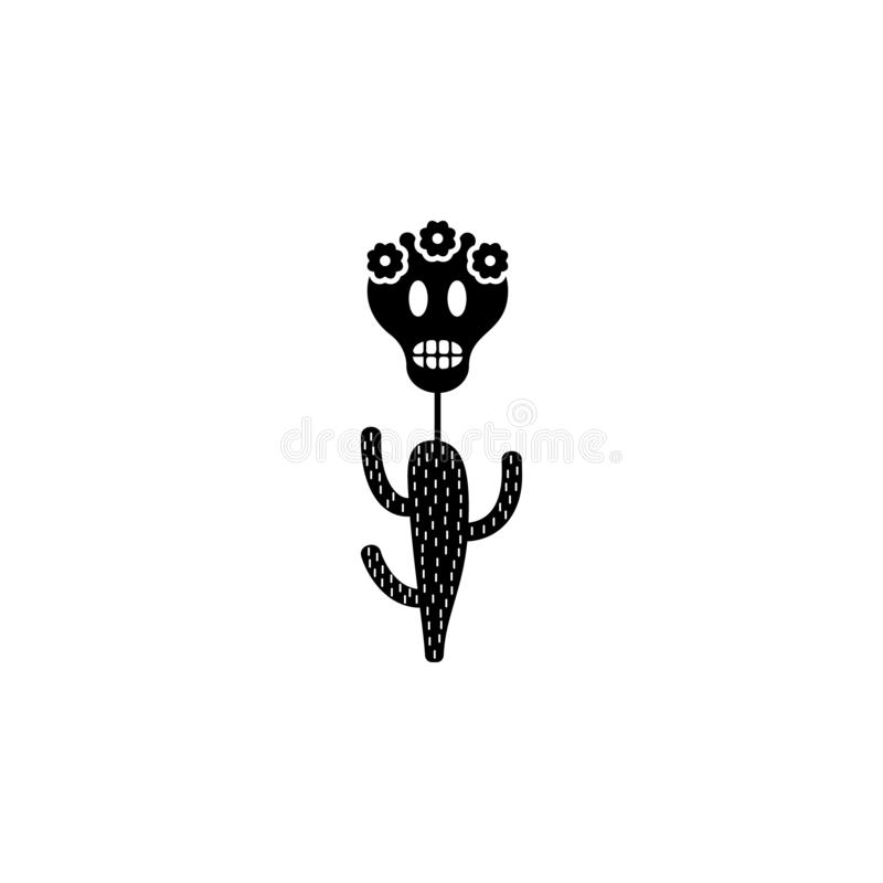 Saguarokaktus, sockerskallesymbol Beståndsdel av den döda symbolen för dag för mobila begrepps- och rengöringsdukapps Detaljerad  stock illustrationer
