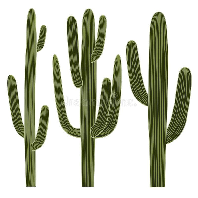 Saguarokaktusuppsättning royaltyfri illustrationer