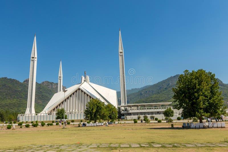 Sah Faisal Mosque en Islamabad, Paquistán foto de archivo