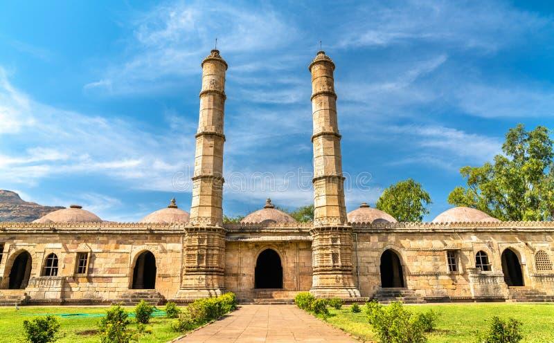 Sahar在Champaner-Pavagadh考古学公园的Ki Masjid 联合国科教文组织遗产站点在古杰雷特,印度 图库摄影