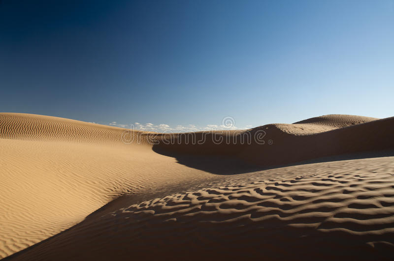Sahara, desert. Sand dunes in the Sahara desert, light, shadows, curves, wind and sun stock photos