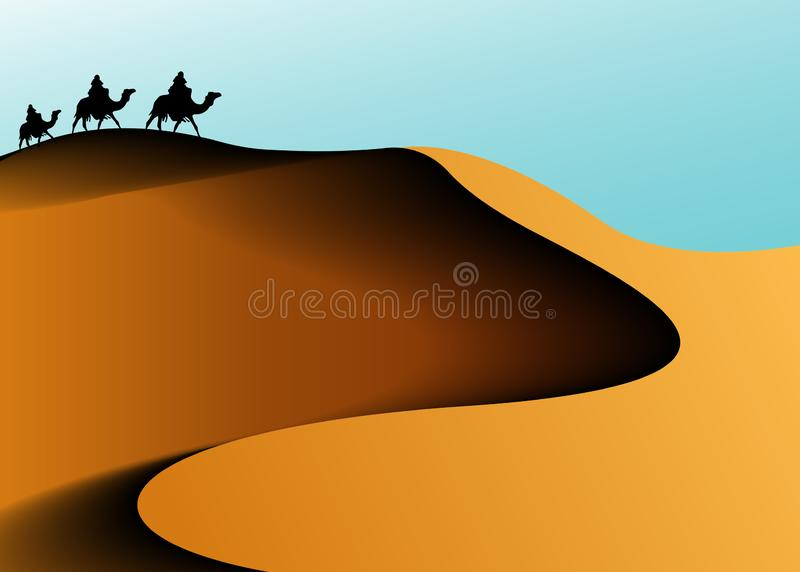 Sahara desert , Animation landscape: desert, caravan of camels. Vector illustration stock illustration