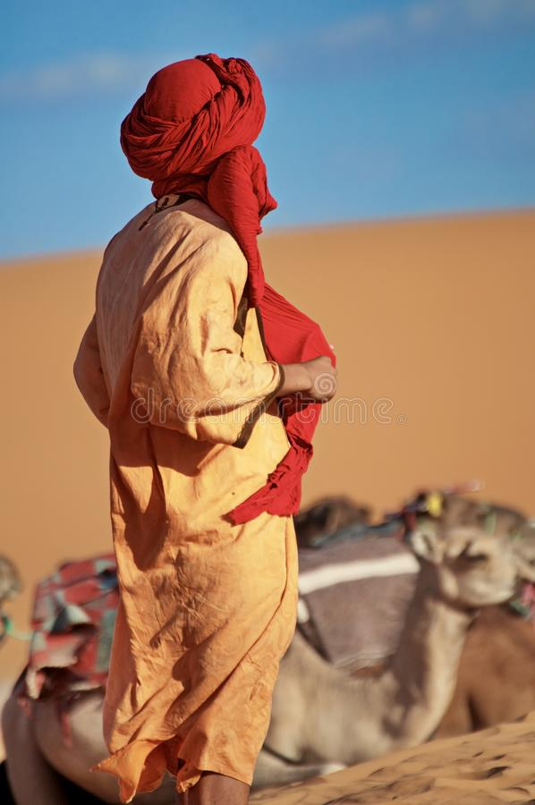 Tuareg berber in the Sahara desert stock photography