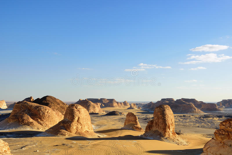 Sahara desert. Tower mountains, Akabat desert at sunset time, Africa, Egypt royalty free stock photo