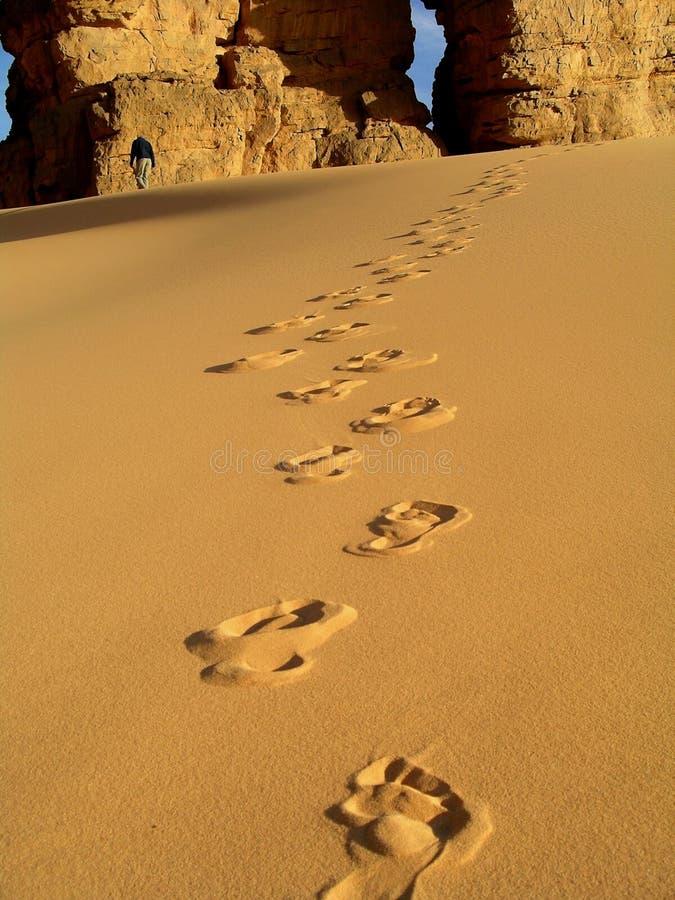 Sahara footsteps stock photo