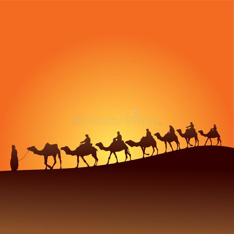 Sahara i wielbłądy ilustracja wektor