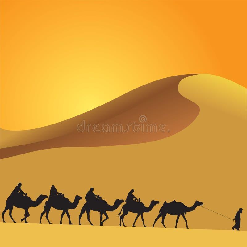 Sahara i wielbłądy royalty ilustracja