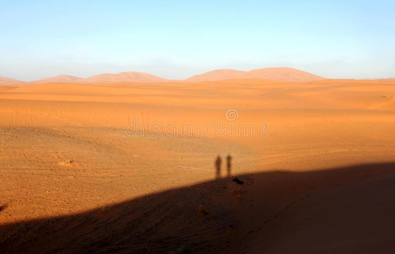 Shadows on the sand in the desert Sahara. The Sahara is the largest hot desert and the third largest desert in the world after Antarctica and the Arctic. Its royalty free stock photography