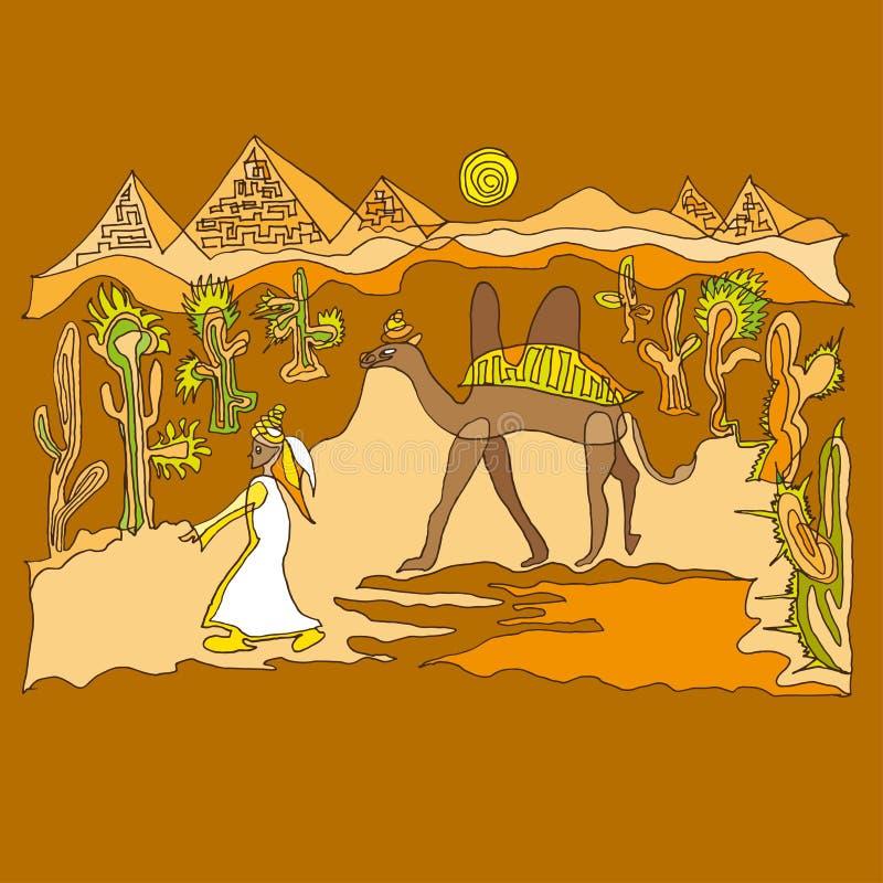Sahara med kamel och dyn royaltyfri illustrationer