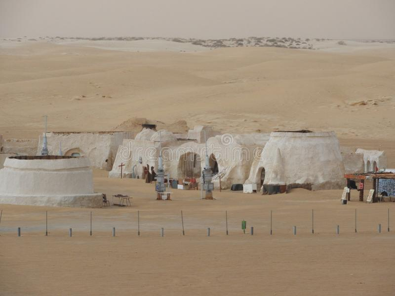 Sahara, Tunisia, July 25, 2018: abandoned scenery for the filming of Star wars in the Sahara desert, planet Tatooine stock image
