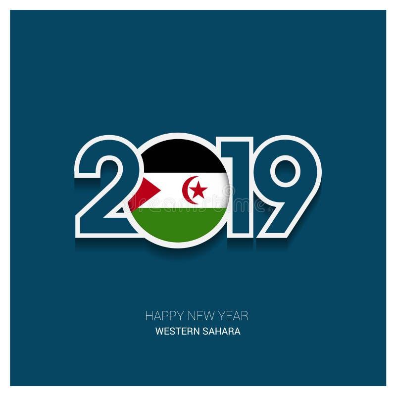 2019 Sahara Typography ocidental, fundo do ano novo feliz ilustração royalty free