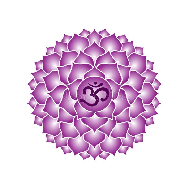 Sahasrara chakra icon symbol purple esoteric yoga indian buddhism hinduism vector. Sahasrara chakra icon symbol purple esoteric yoga indian buddhism hinduism royalty free illustration