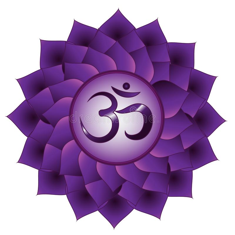 Sahasrara chakra. Seventh, crown chakra symbol. Isolated vector icon vector illustration