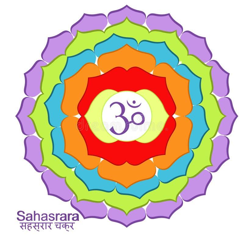 Sahasraraindiern av chakravektorillustrationen vektor illustrationer