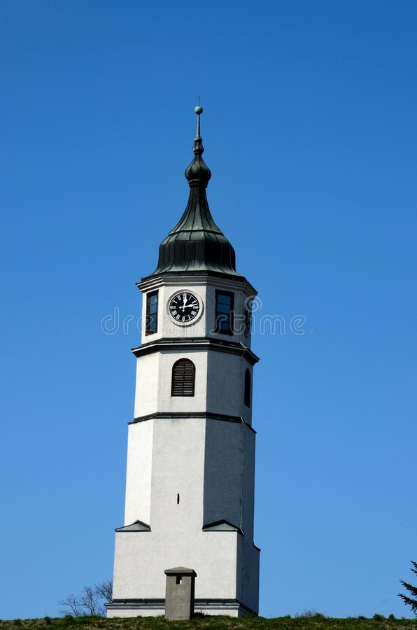 Sahat clock tower pagoda on hill park in Fortress area Belgrade Serbia. Belgrade, Serbia - March 20, 2015: A clock tower pagoda with an East European style dome royalty free stock photo