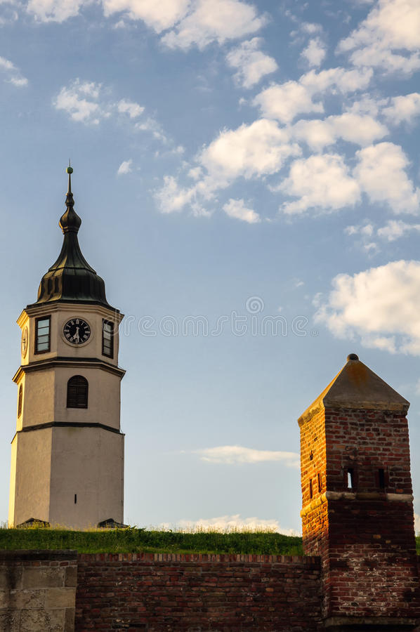 Sahat kula (clock tower). And guardhouse at Kalemegdan fortress in Belgrade, Serbia stock photo