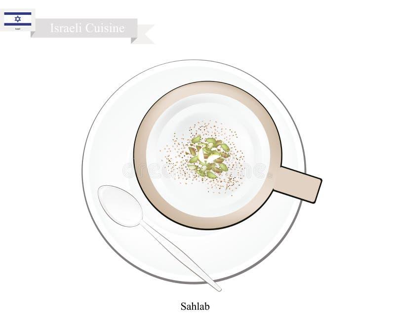 Sahlab ou lait chaud israélien avec de la farine de racine d'orchidée illustration de vecteur