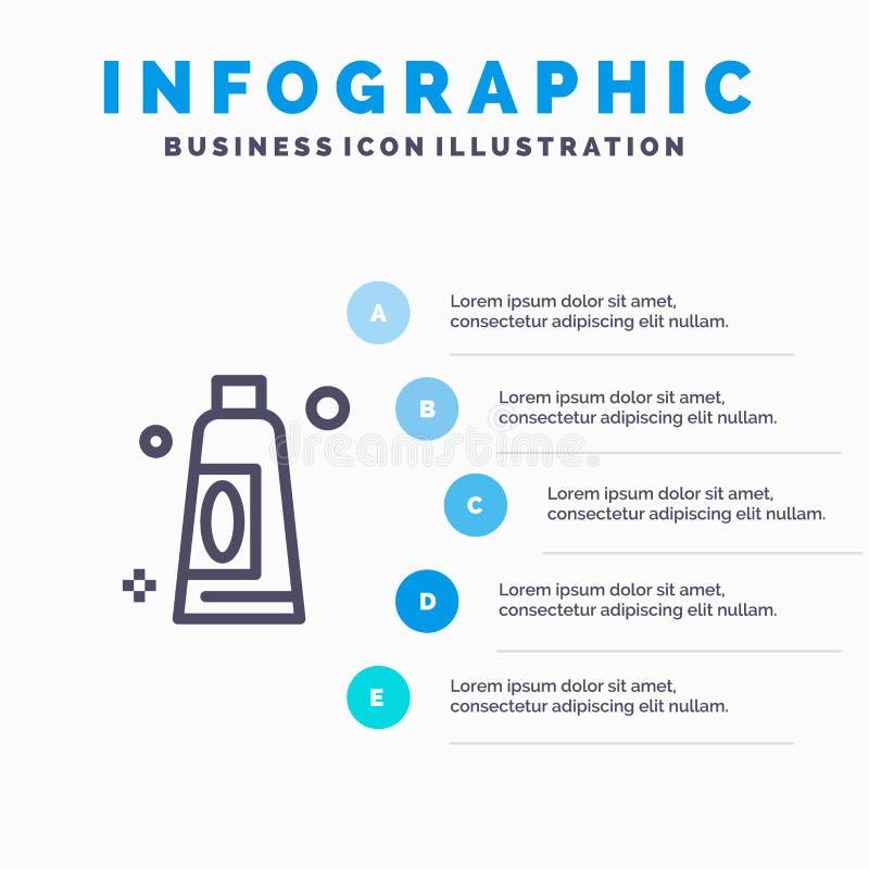 Sahne, Reinigung, klare Linie Ikone mit Hintergrund infographics Darstellung mit 5 Schritten stock abbildung