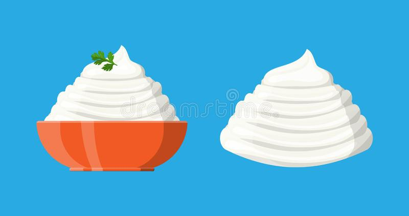 Sahnesoße oder -mayonnaise mit grüner Petersilie stock abbildung
