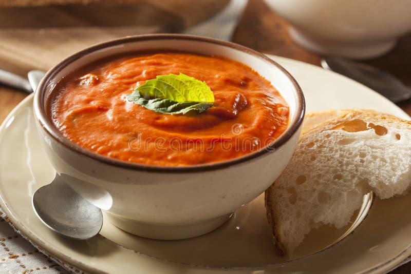 Sahnige Tomate Basil Bisque Soup stockfotografie