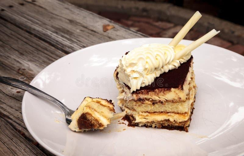 Sahniger italienischer Tiramisu mit einem Kaffee würzte Vanillepudding lizenzfreie stockfotografie