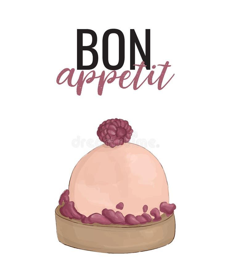 Sahniger Kuchen des Vektors mit Bon Appetit-Typografie Köstliches Bäckereiplakat Nachtisch mit Himbeeren-onn Spitze, homemadefood stock abbildung