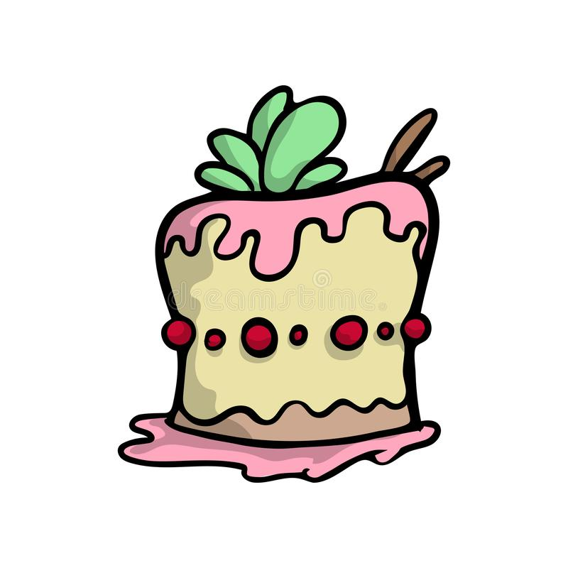 Sahniger Kuchen mit süßen Blättern und roten Kirschpunkten vektor abbildung