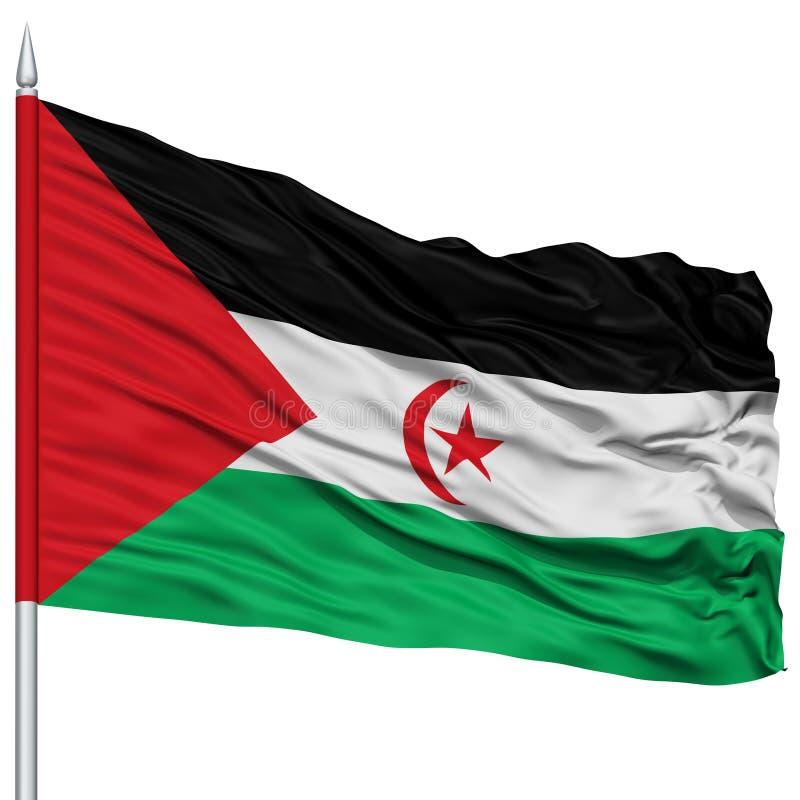 Sahrawi Demokratycznej republiki Arabska flaga na Flagpole obrazy stock