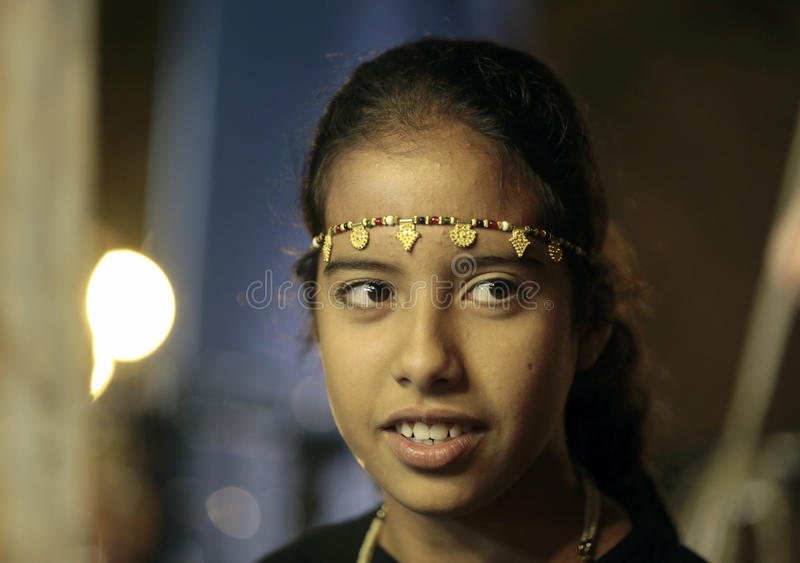 Sahrawi girl 019. Sahrawi young girl with typical makeup and ornaments on a global dance folkloric festival to celebrate local festivity in the spanish island of royalty free stock photography