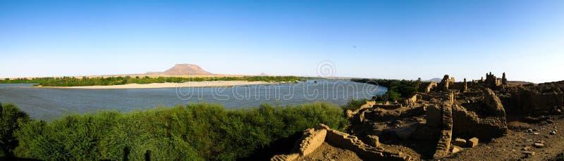 Sai海岛的,尼罗河,苏丹被破坏的堡垒 库存照片