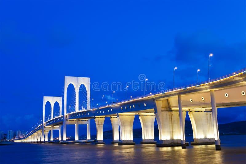 sai范・ Bridge在澳门在晚上 免版税库存图片
