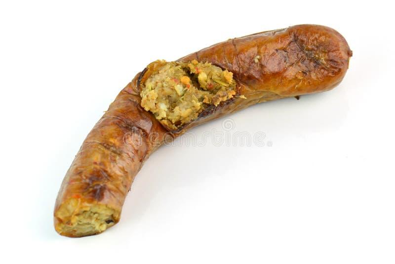 Sai Aua, angefülltes Schweinefleisch, thailändische würzige Wurst Notrhern - Küche lizenzfreies stockfoto