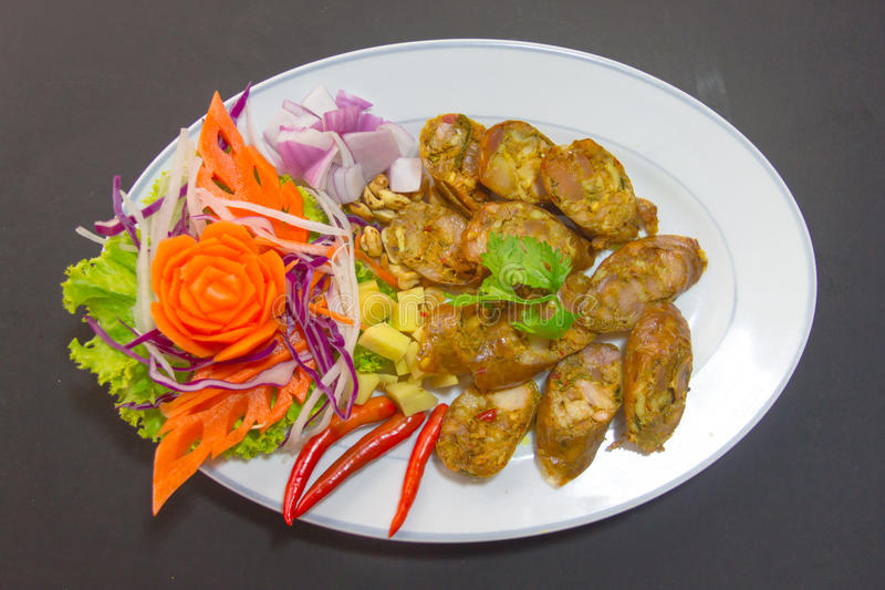 Sai Aua Notrhern Thai Spicy-Wurst stockfotos