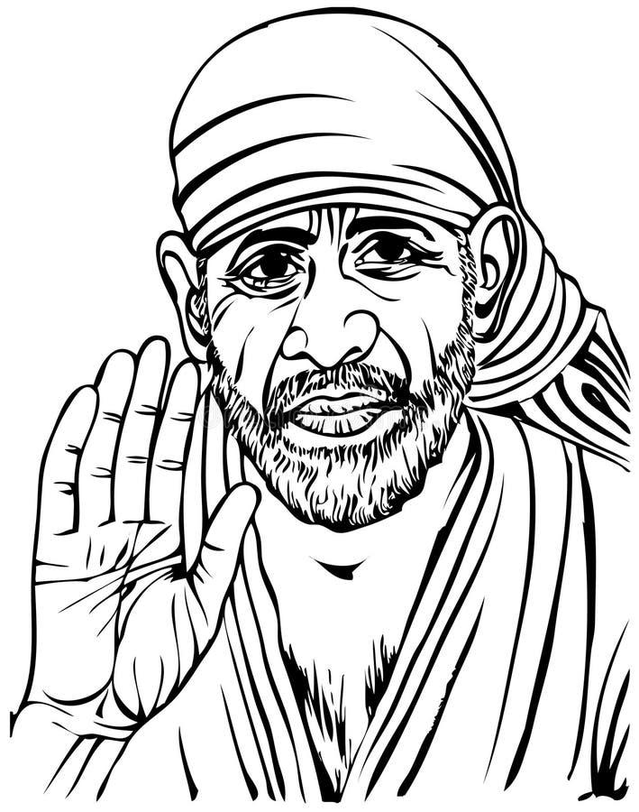 Line Art Sai : Sai baba stock illustration of colour