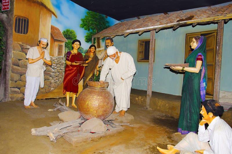 Sai Baba with his devotees, Sant Darshan Museum, Hadashi. Maharashtra, India royalty free stock image