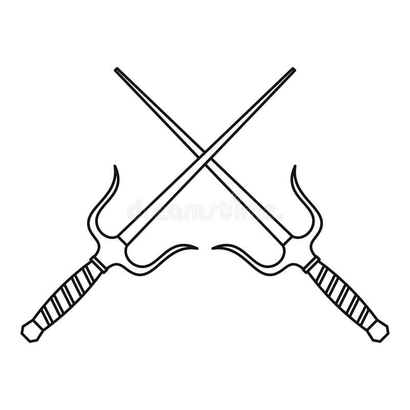 Sai-Dolch-Waffenikone, Entwurfsart vektor abbildung