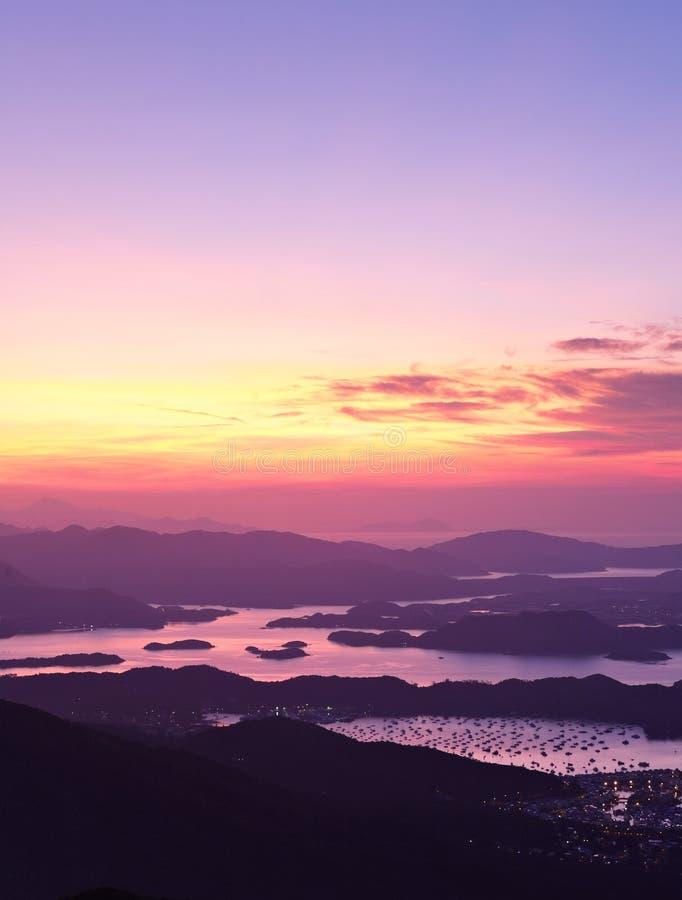 Sai Kung på morgonen, Hong Kong arkivfoton