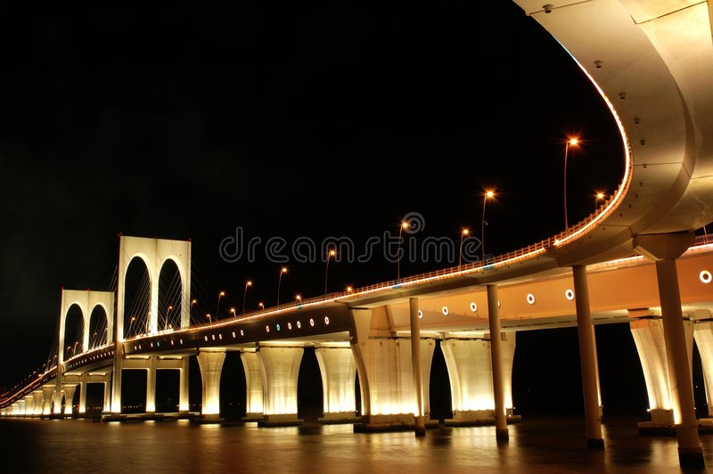 Sai Van Bridge. Is a cable-stayed bridge in Macau inaugurated on December 19, 2004. The bridge measures 2.2 kilometers (1.4 mi) long and is the third one that stock photos