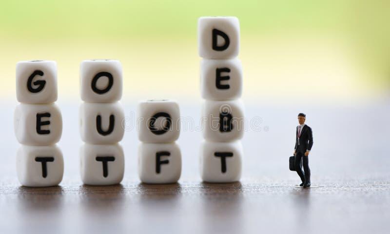 Saia do conceito do débito/responsabilidades aumentadas da consolidação de débito da isenção fotos de stock royalty free