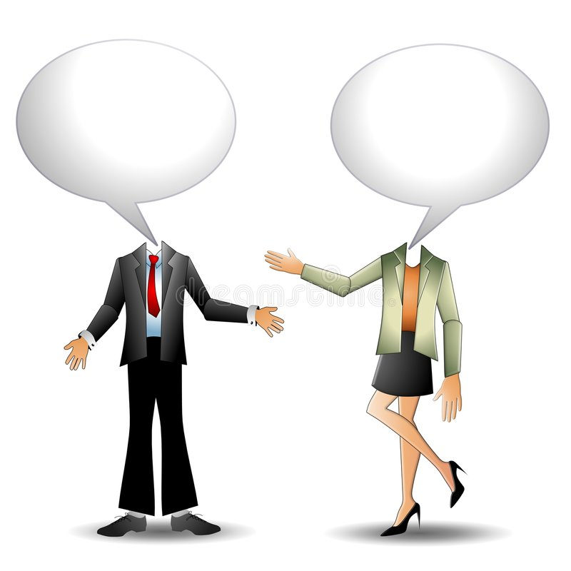 He Said She Said People. An illustration featuring two people - man and woman - standing and having a conversation with two empty talk bubbles you can fill in